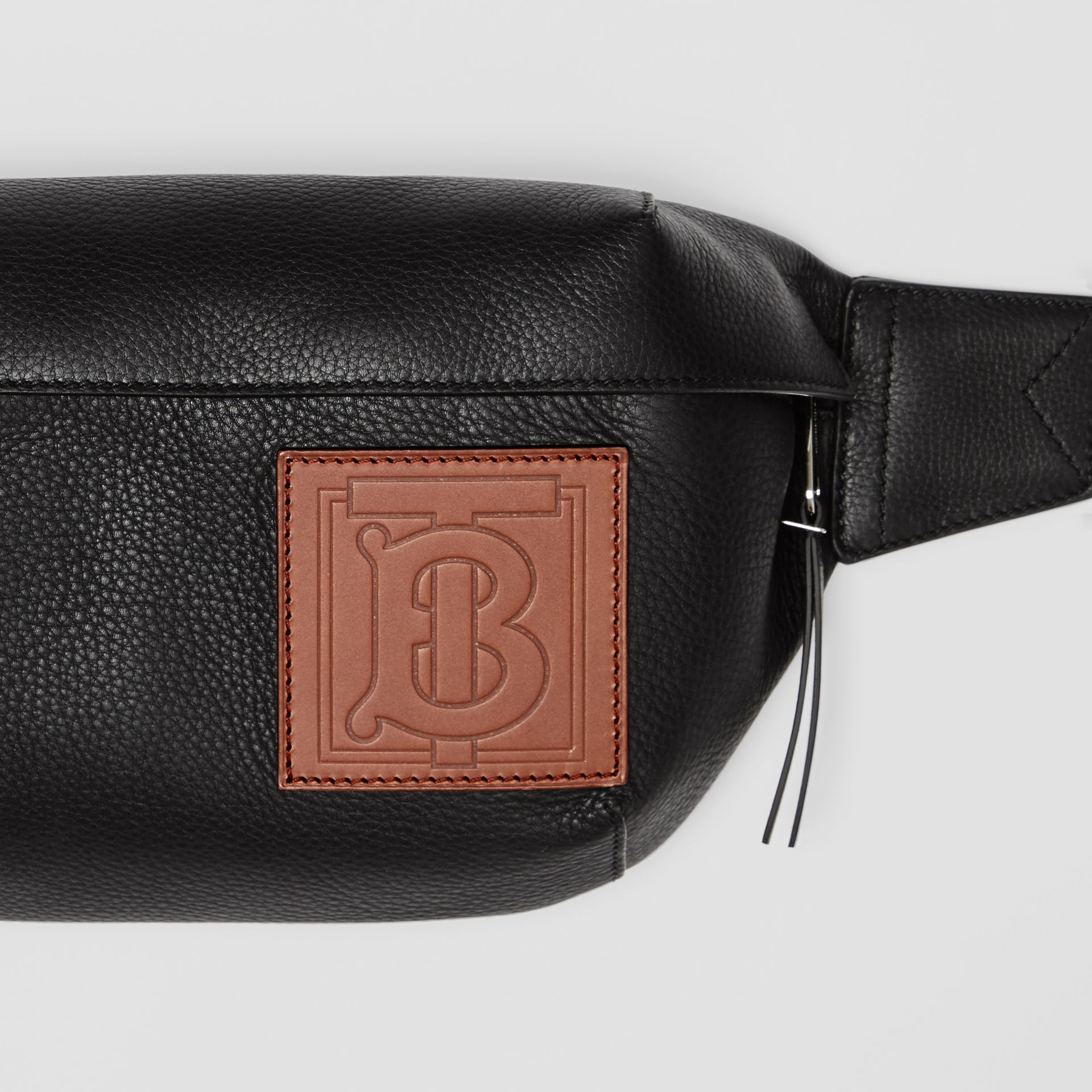 Medium Monogram Motif Leather Bum Bag in Black | Burberry United Kingdom - gallery image 1