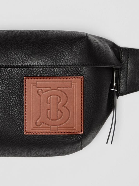 Medium Monogram Motif Leather Bum Bag in Black | Burberry United Kingdom - cell image 1