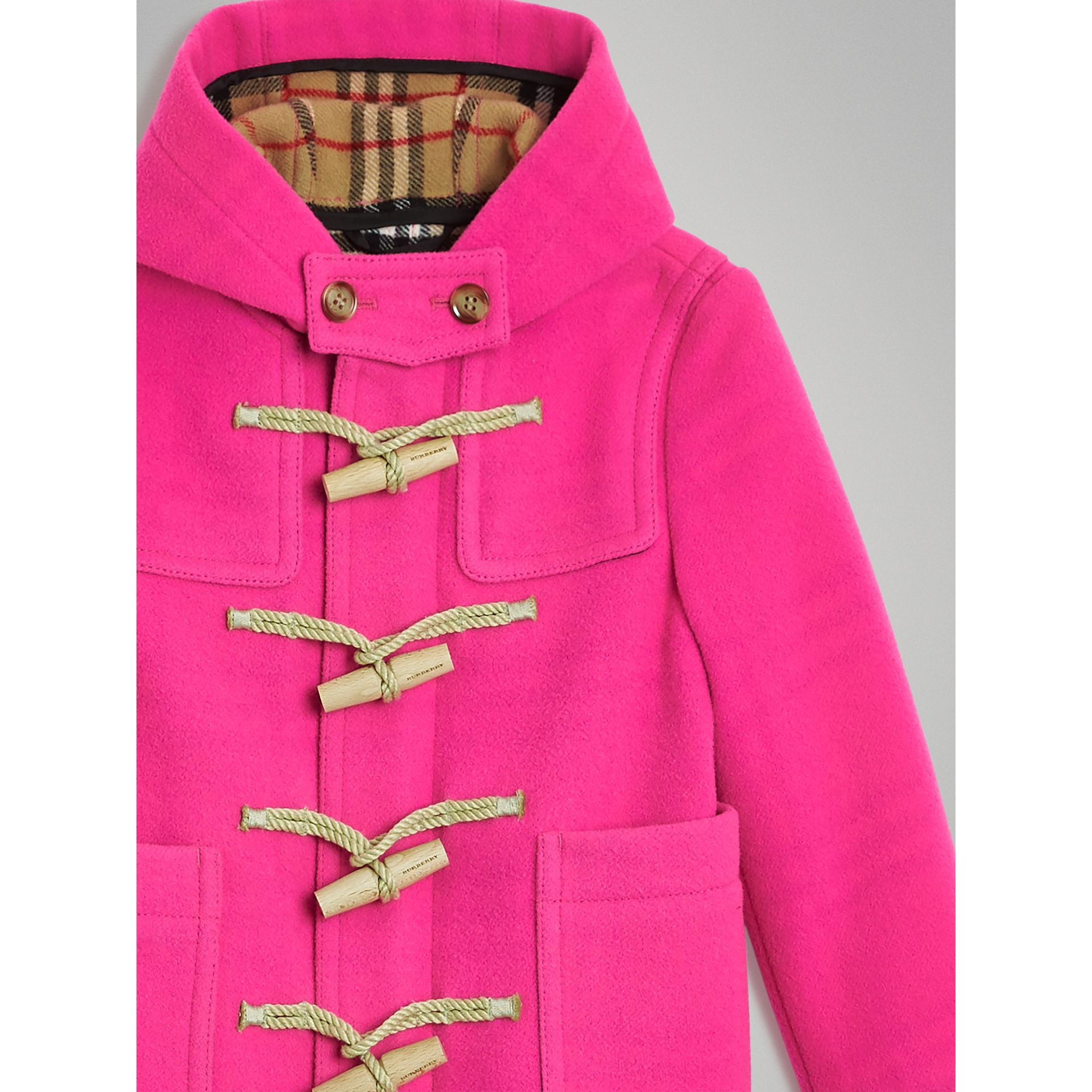 Double-faced Wool Duffle Coat in Neon Pink | Burberry United States - gallery image 4