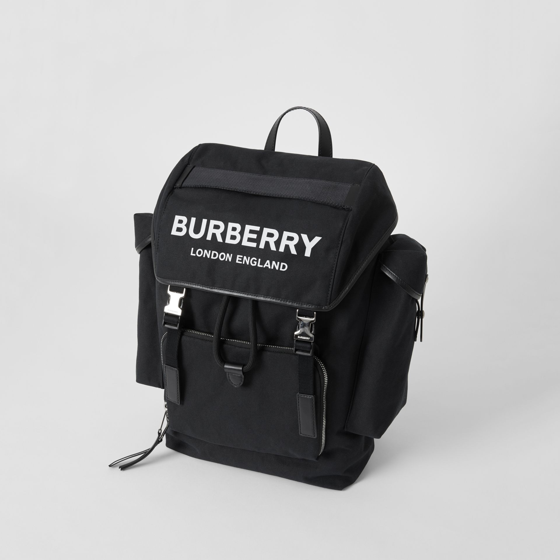 Medium Logo Detail Cotton Blend Backpack in Black - Men | Burberry - gallery image 2