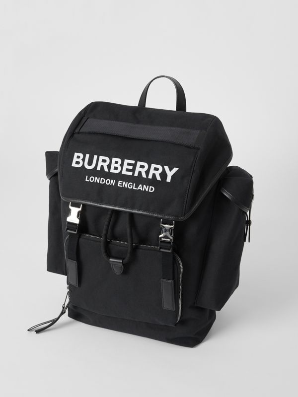 Medium Logo Detail Cotton Blend Backpack in Black - Men | Burberry - cell image 2