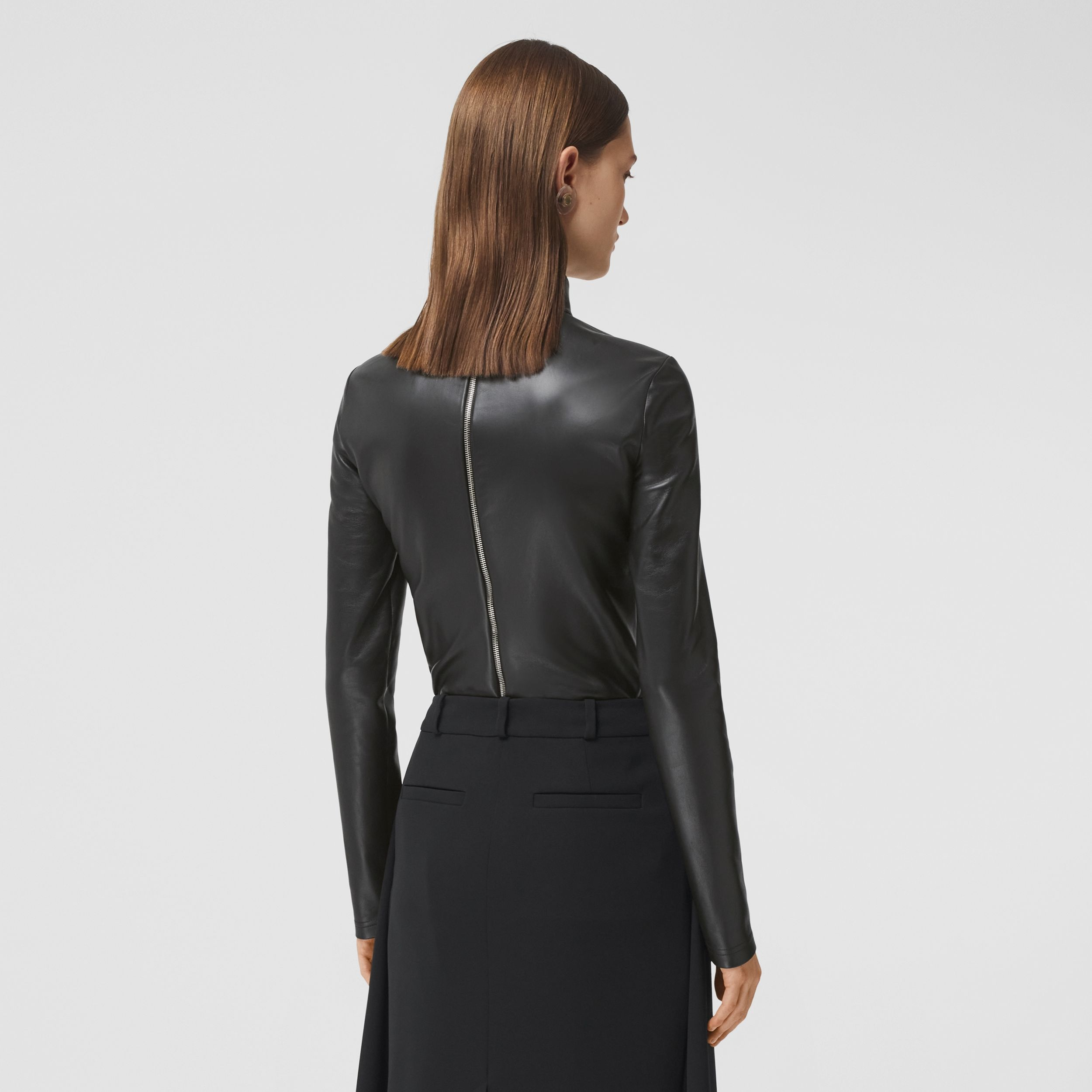 Stretch Lambskin Turtleneck Top in Black - Women | Burberry - 3