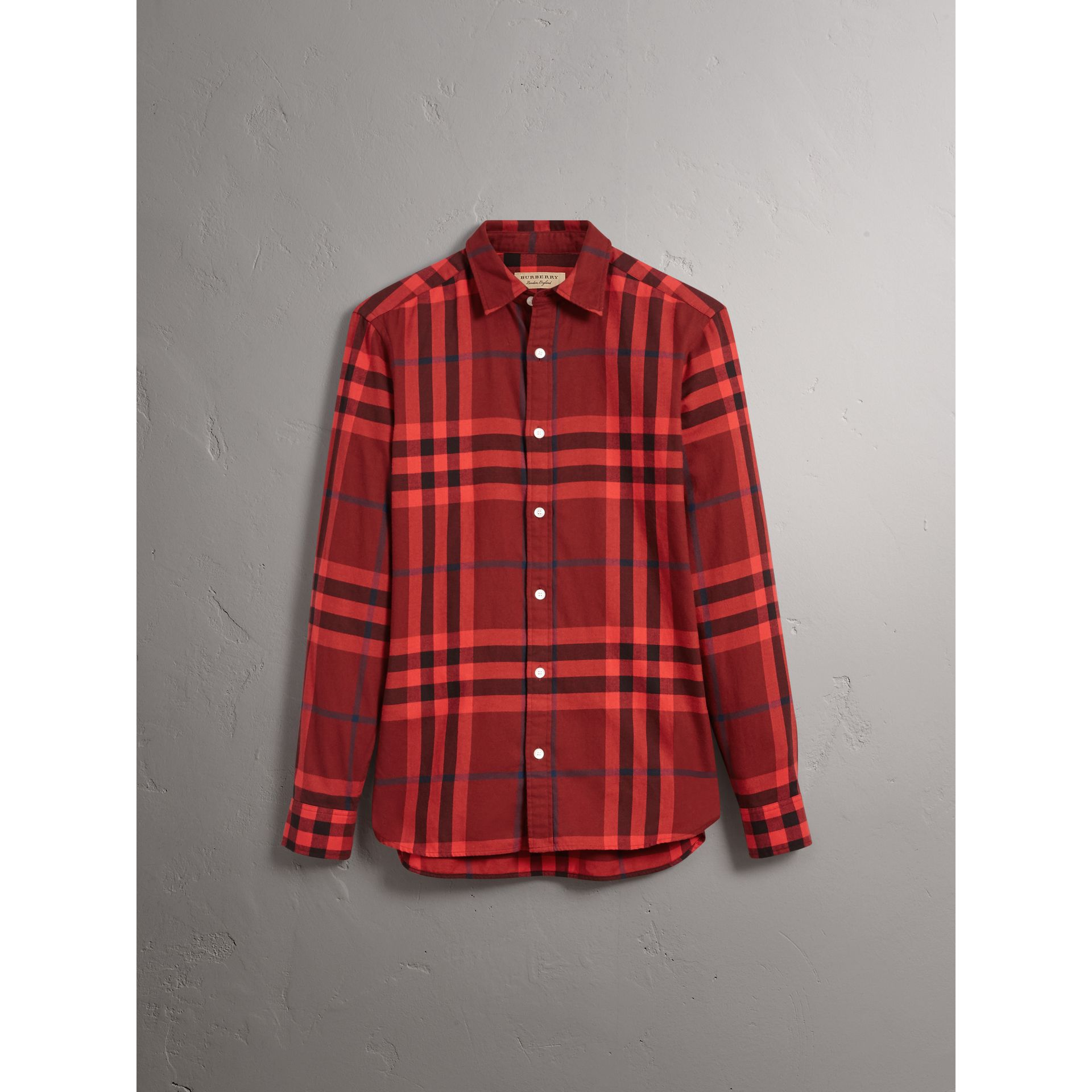Check Cotton Flannel Shirt in Mahogany Red - Men | Burberry - gallery image 3