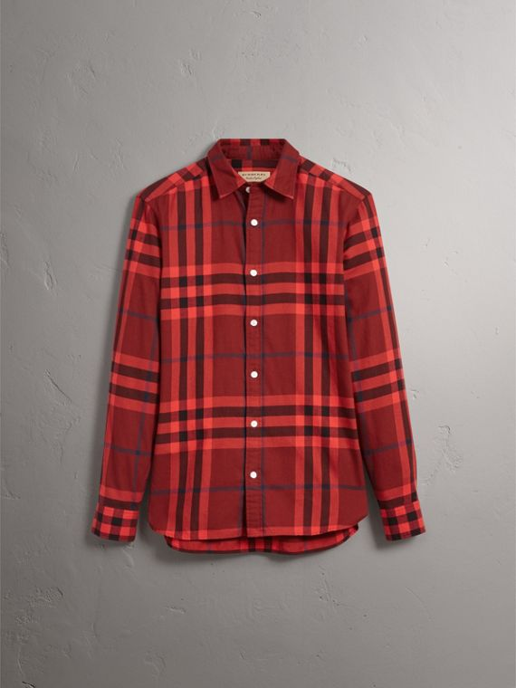 Check Cotton Flannel Shirt in Mahogany Red - Men | Burberry Hong Kong - cell image 3