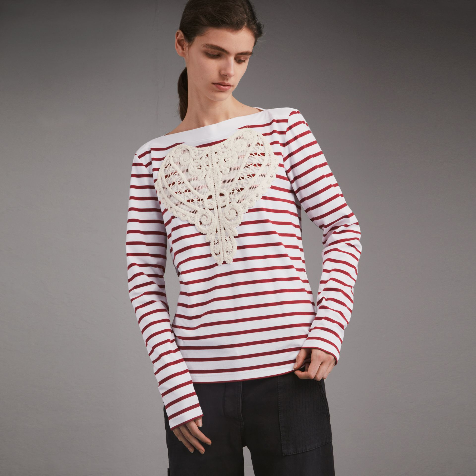 Unisex Breton Stripe Cotton Top with Lace Appliqué in Parade Red - Women | Burberry - gallery image 1
