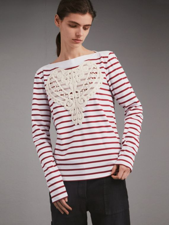 Unisex Breton Stripe Cotton Top with Lace Appliqué