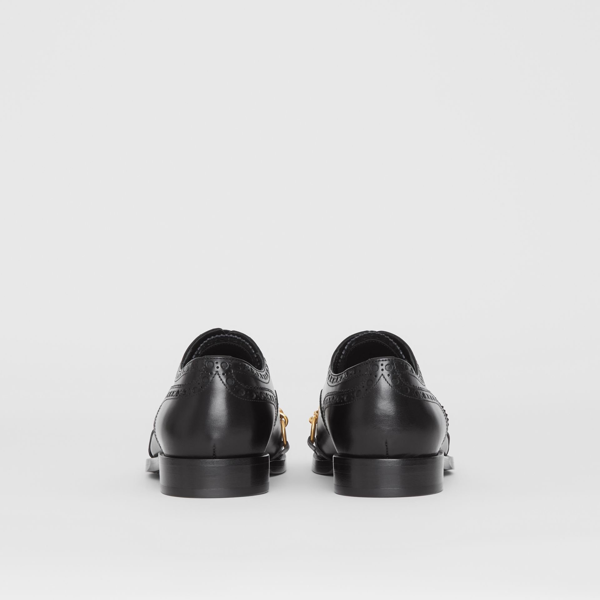 Link Detail Leather Brogues in Black - Men | Burberry - gallery image 3