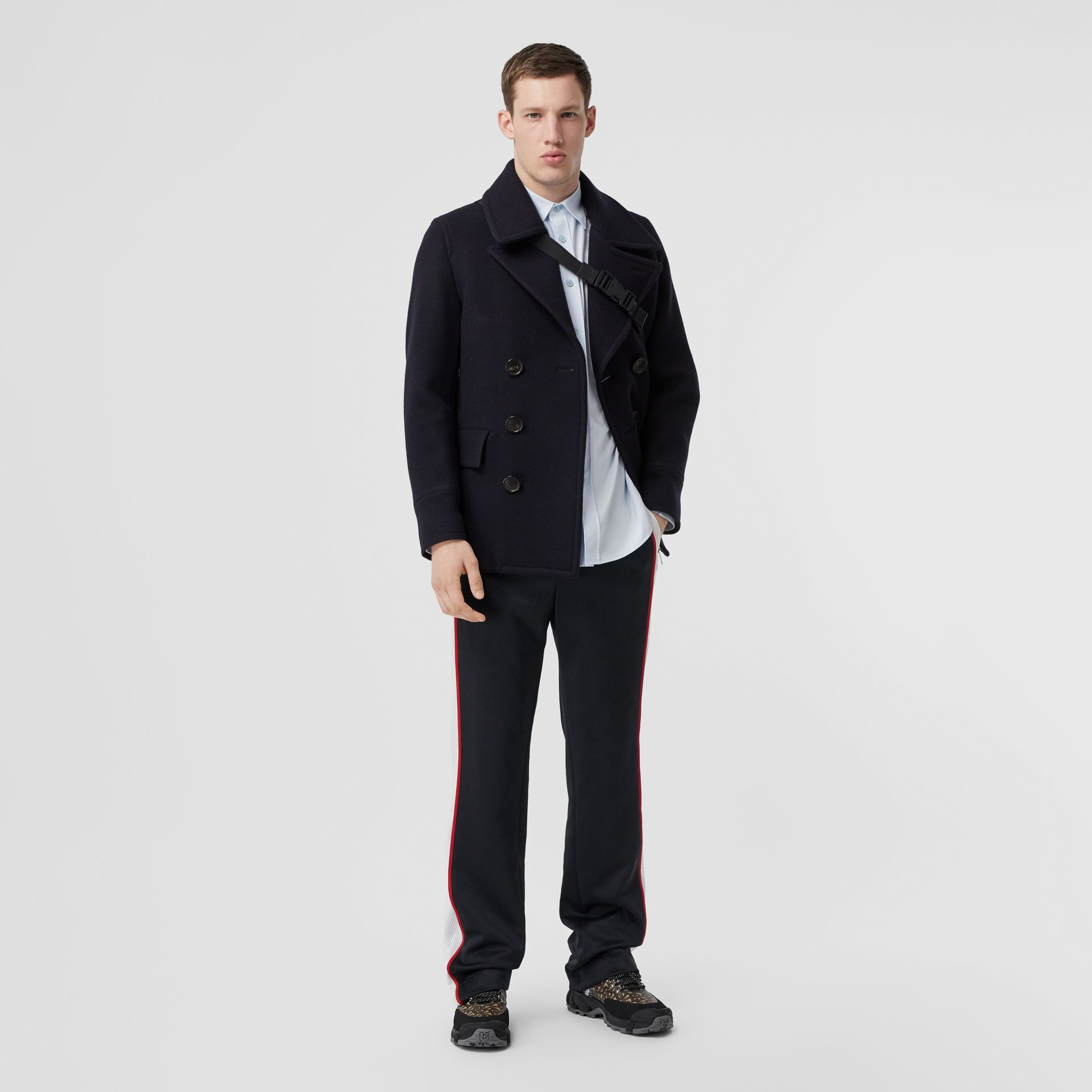 Wool Blend Pea Coat in Navy - Men | Burberry - gallery image 0