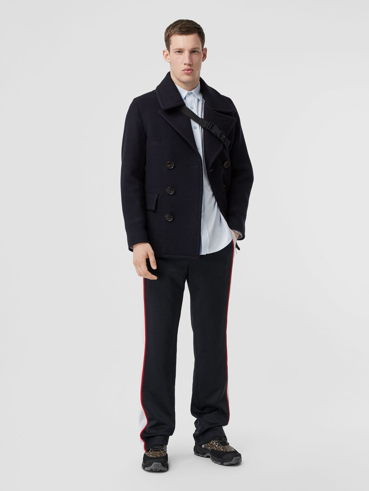 Wool Blend Pea Coat (Navy)
