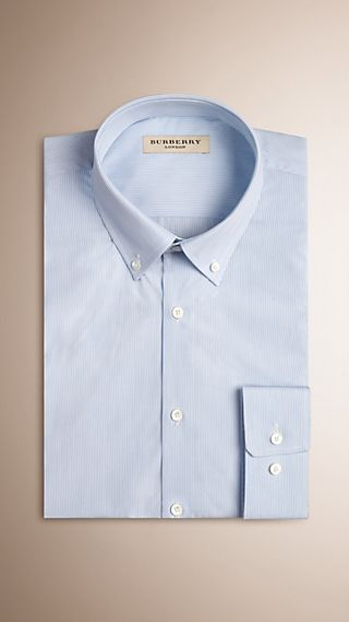 Modern Fit Button-down Collar Striped Cotton Poplin Shirt