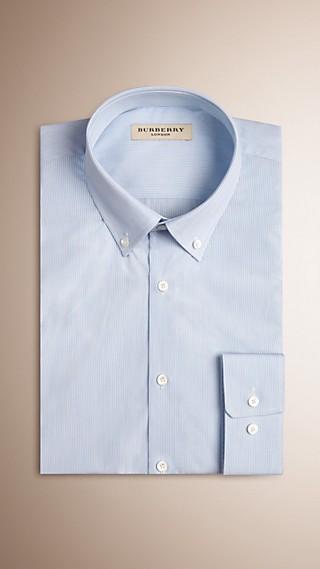 Modern Fit Button-down Collar Striped Cotton Poplin Shirt
