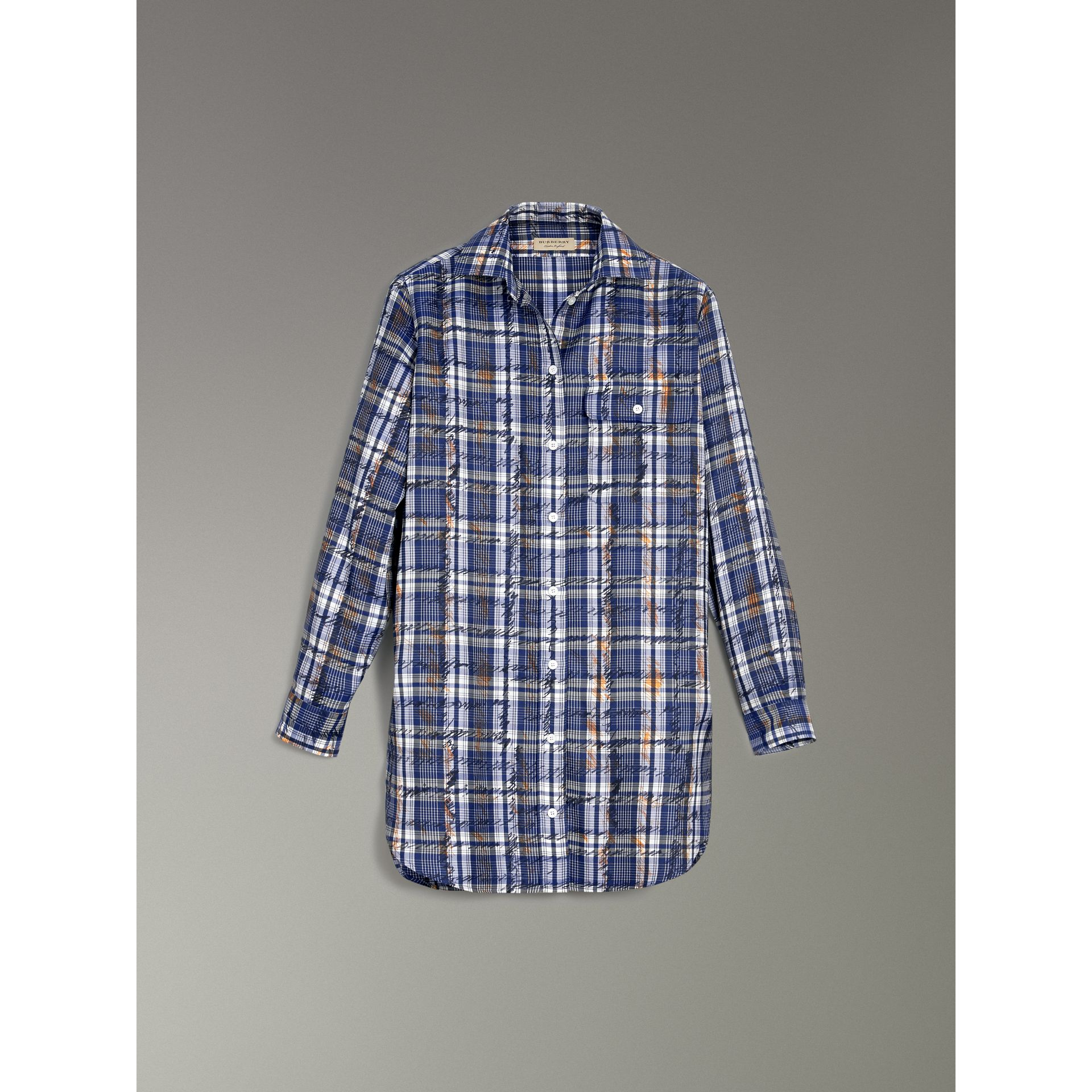 Scribble Check Silk Shirt in Navy/white - Women | Burberry - gallery image 3