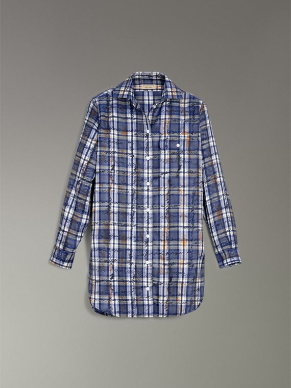 Scribble Check Silk Shirt in Navy/white - Women | Burberry - cell image 3