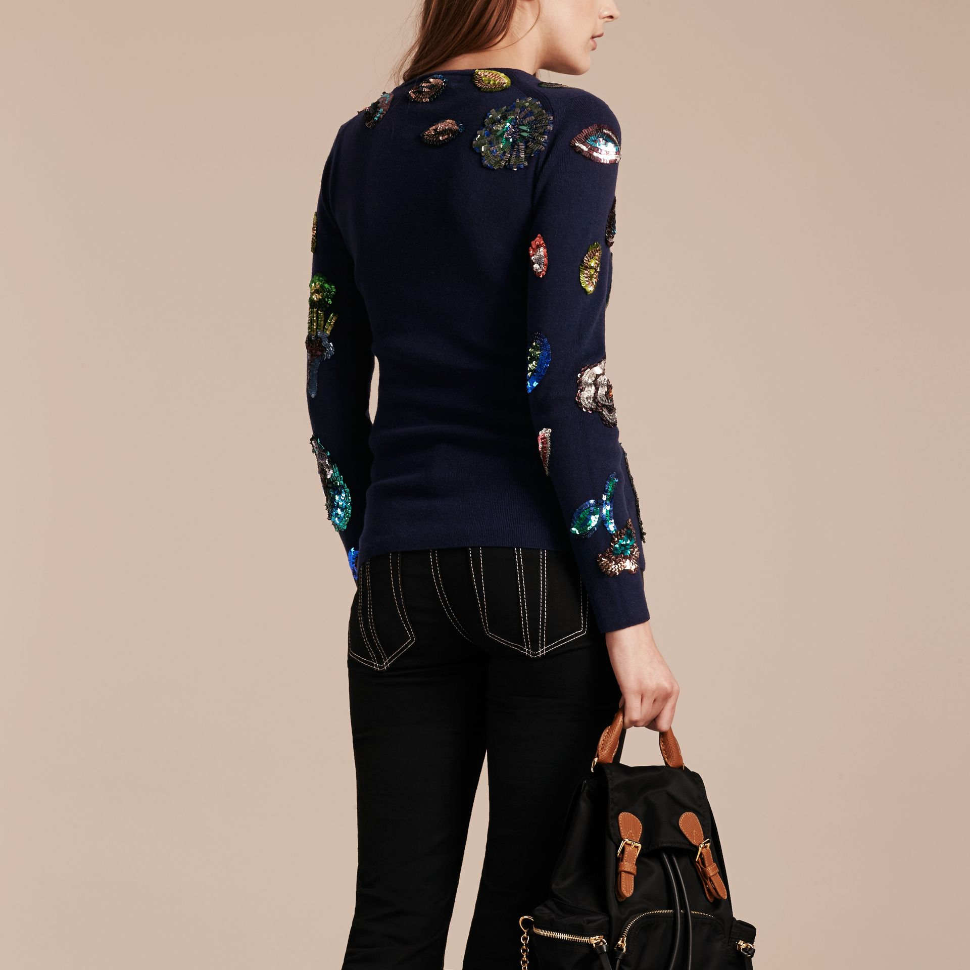 Navy Cashmere Sweater with Hand-embroidered Sequin Flowers - gallery image 3