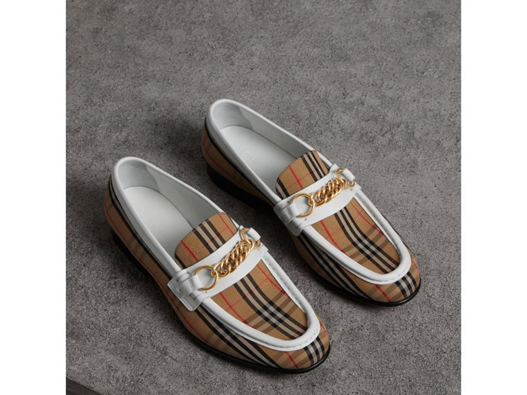 The 1983 Check Link Loafer in Off White - Women | Burberry - cell image 4