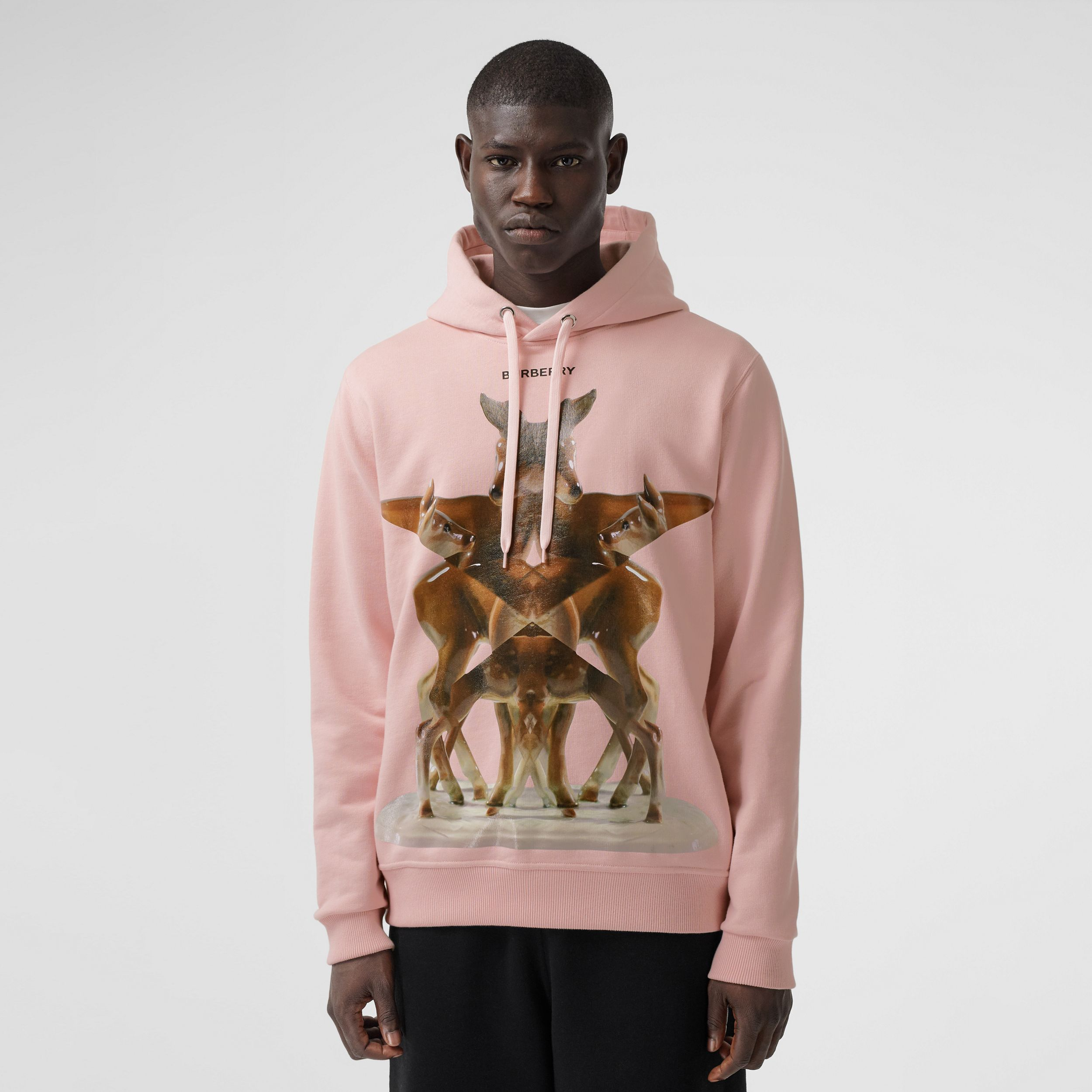 Kaleidoscope Print Cotton Hoodie in Frosted Pink - Men | Burberry - 1