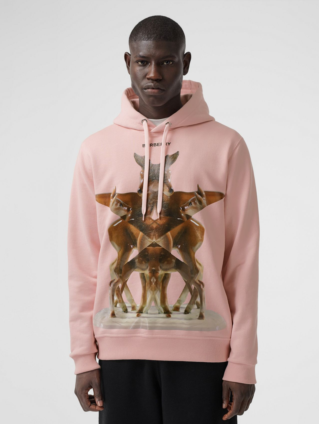 Kaleidoscope Print Cotton Hoodie in Frosted Pink