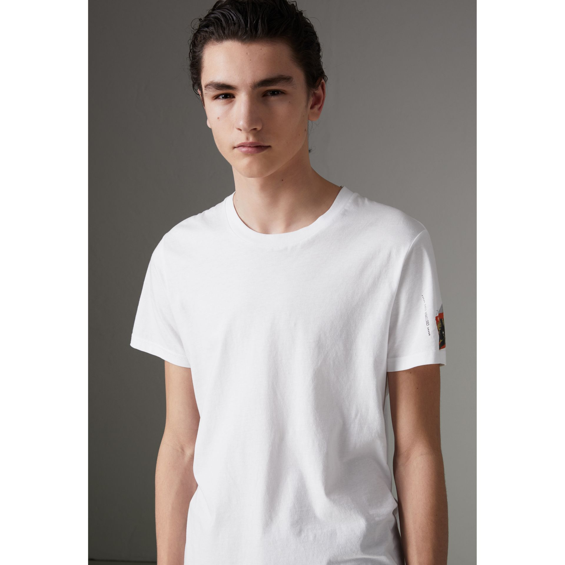 Graffitied Ticket Print T-shirt in White - Men | Burberry United Kingdom - gallery image 1