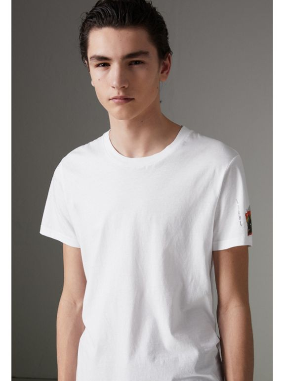 Graffitied Ticket Print T-shirt in White - Men | Burberry United Kingdom - cell image 1