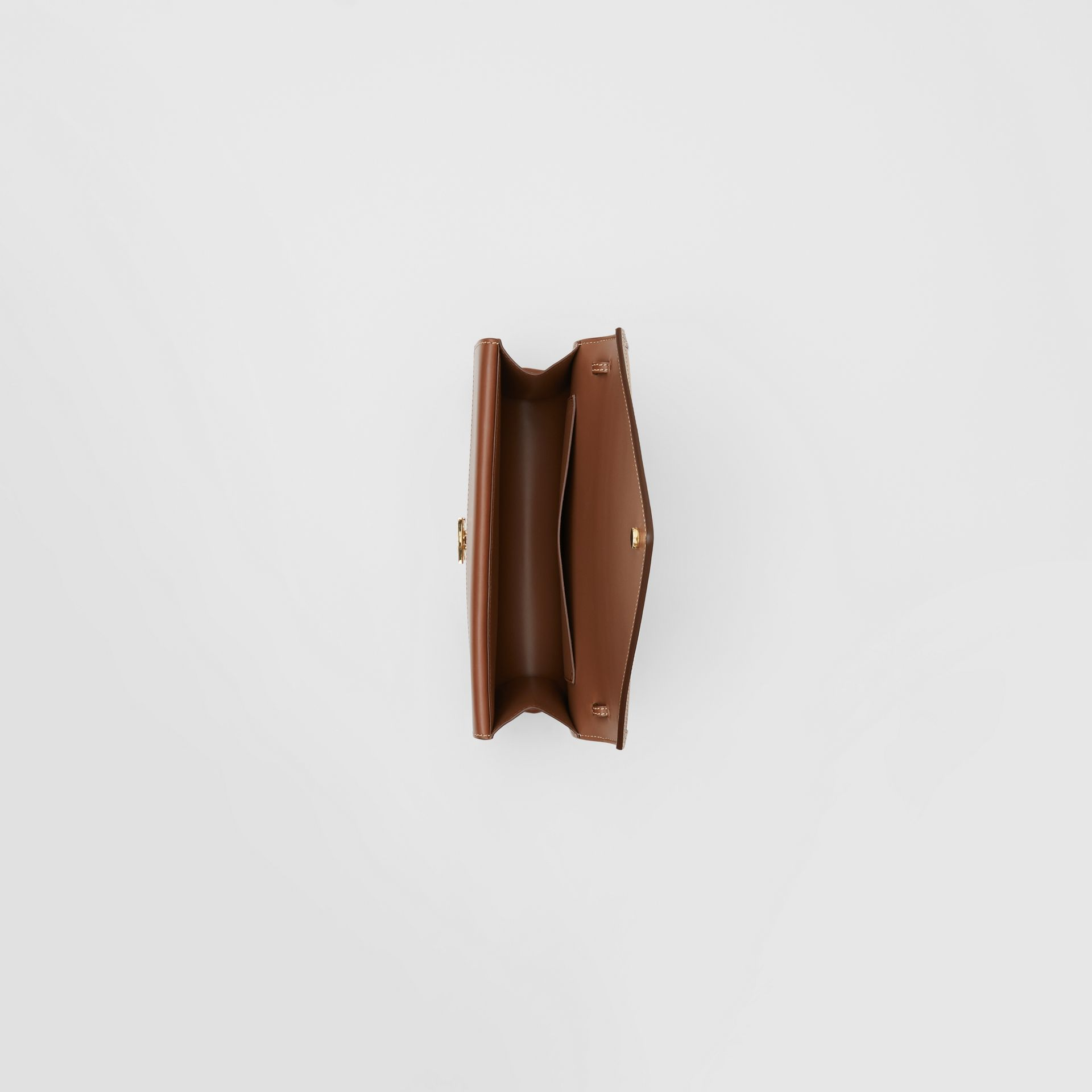 Small Two-tone Leather TB Envelope Clutch in Malt Brown - Women | Burberry - gallery image 4