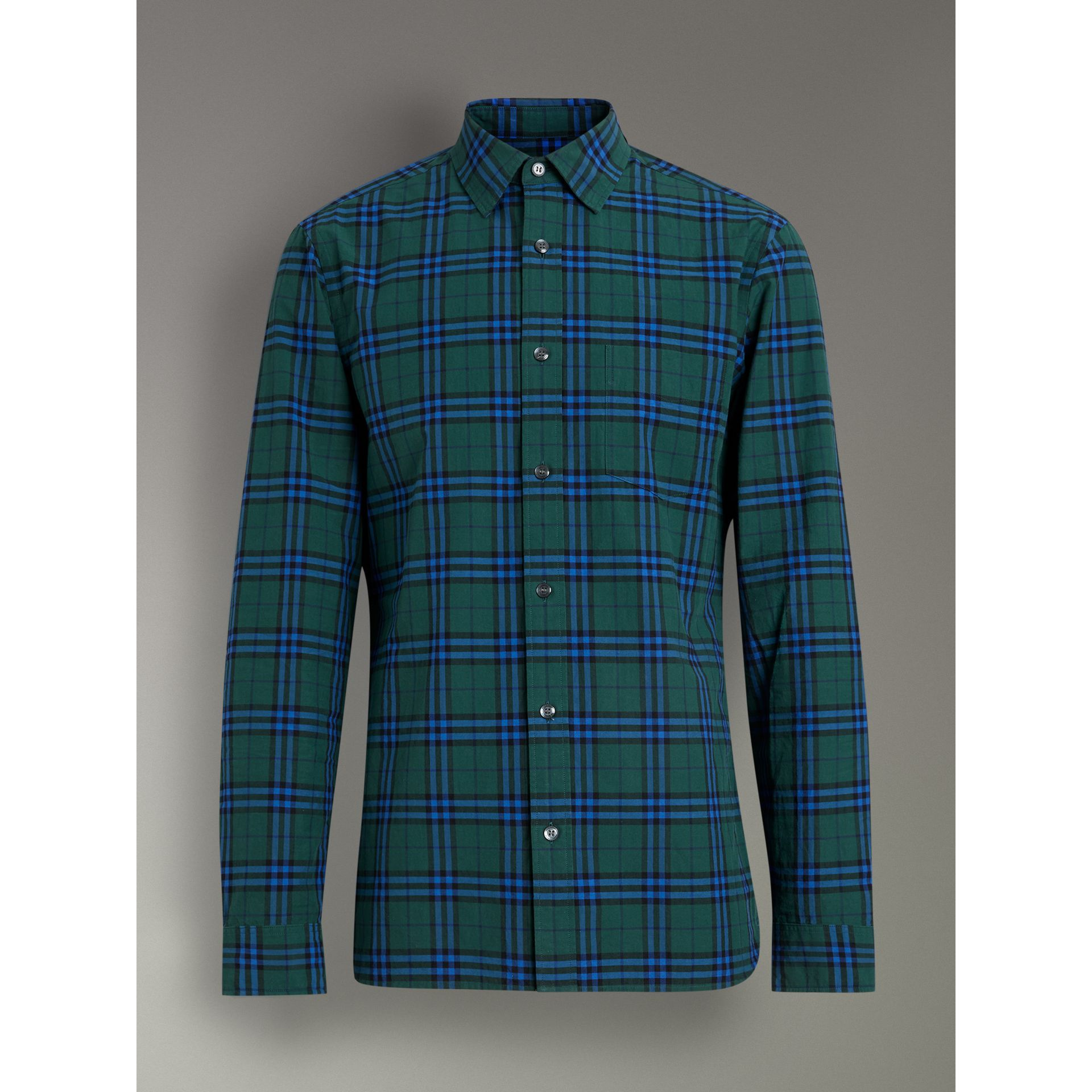 Check Cotton Shirt in Forest Green - Men | Burberry United Kingdom - gallery image 3