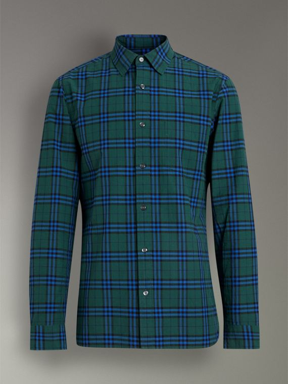 Check Cotton Shirt in Forest Green - Men | Burberry Hong Kong - cell image 3