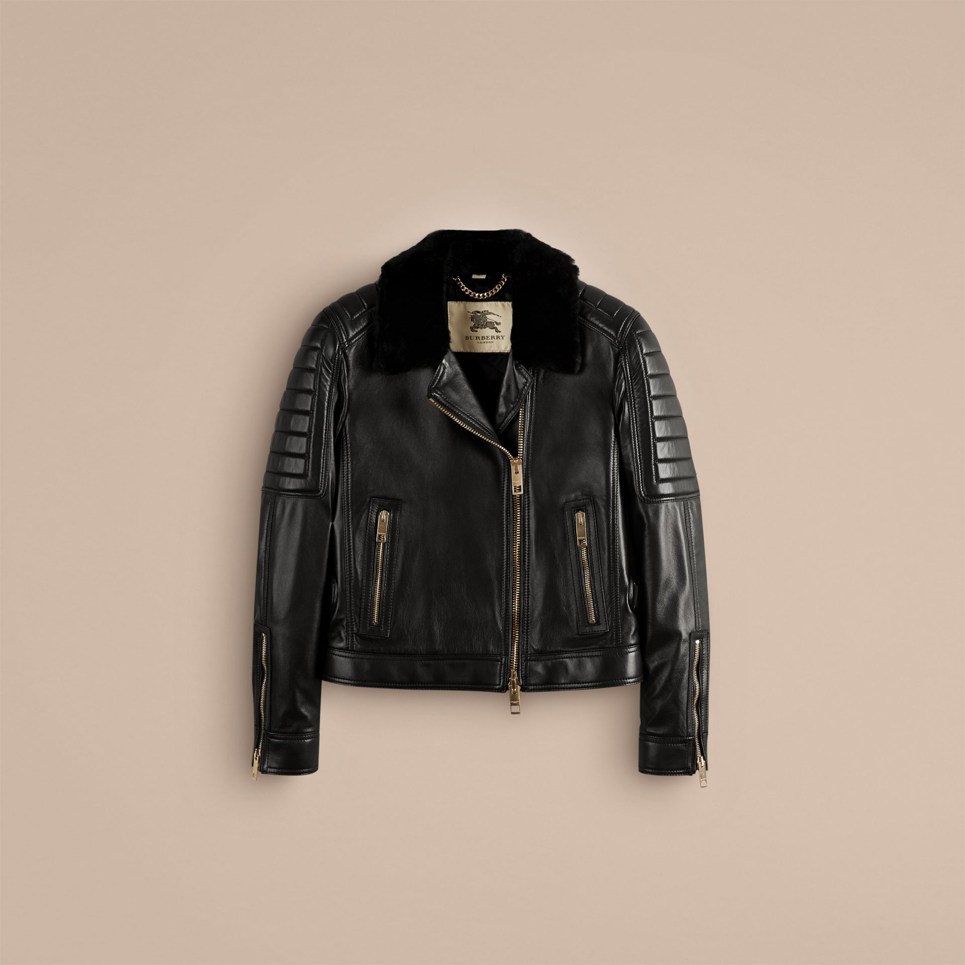 Black Lambskin Biker Jacket with Shearling Topcollar - gallery image 3