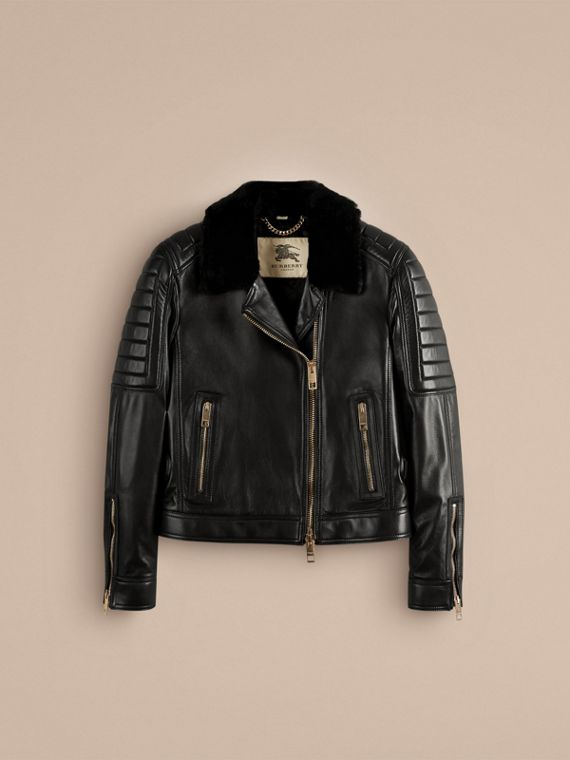 Black Lambskin Biker Jacket with Shearling Topcollar - cell image 2