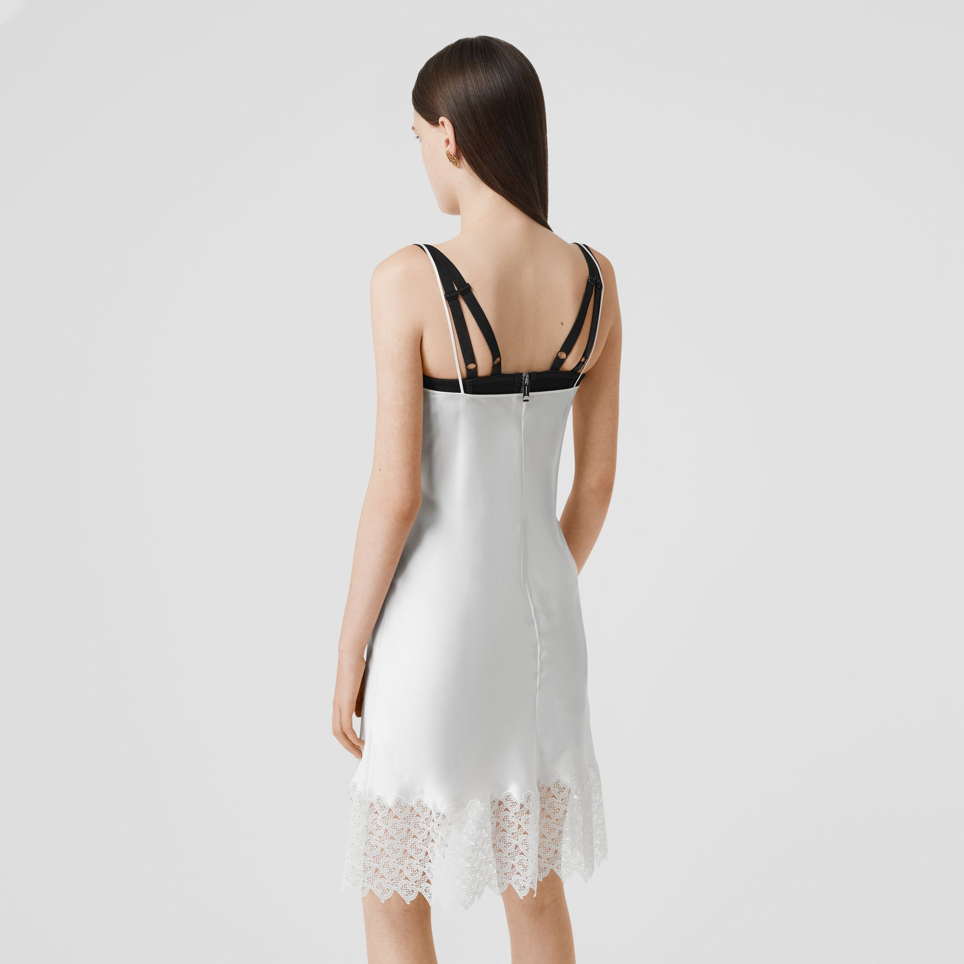 Monogram Lace Trim Silk Satin Slip Dress in Natural White - Women | Burberry - gallery image 2