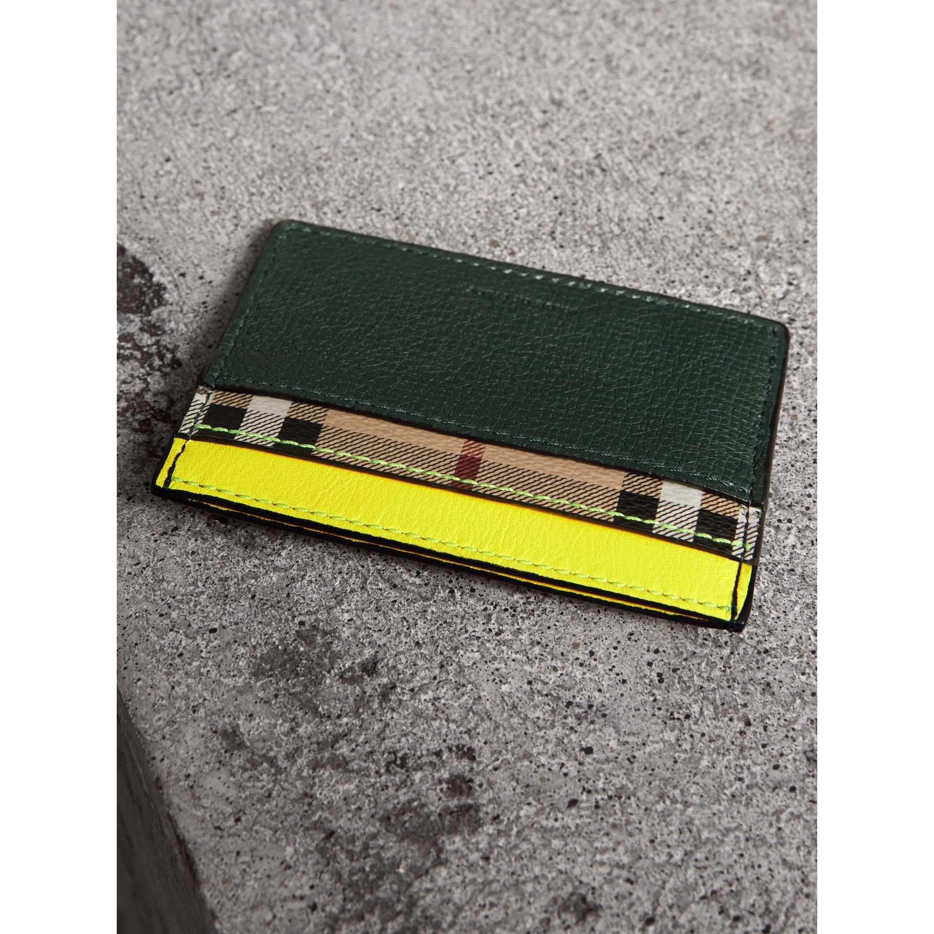 Haymarket Check and Two-tone Leather Card Case in Bright Yellow | Burberry - gallery image 2