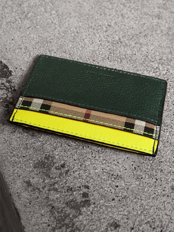 Haymarket Check and Two-tone Leather Card Case in Bright Yellow - Men | Burberry - cell image 2