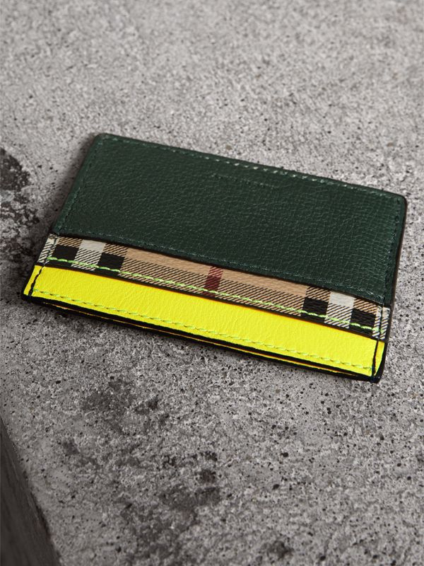 Haymarket Check and Two-tone Leather Card Case in Bright Yellow | Burberry - cell image 2