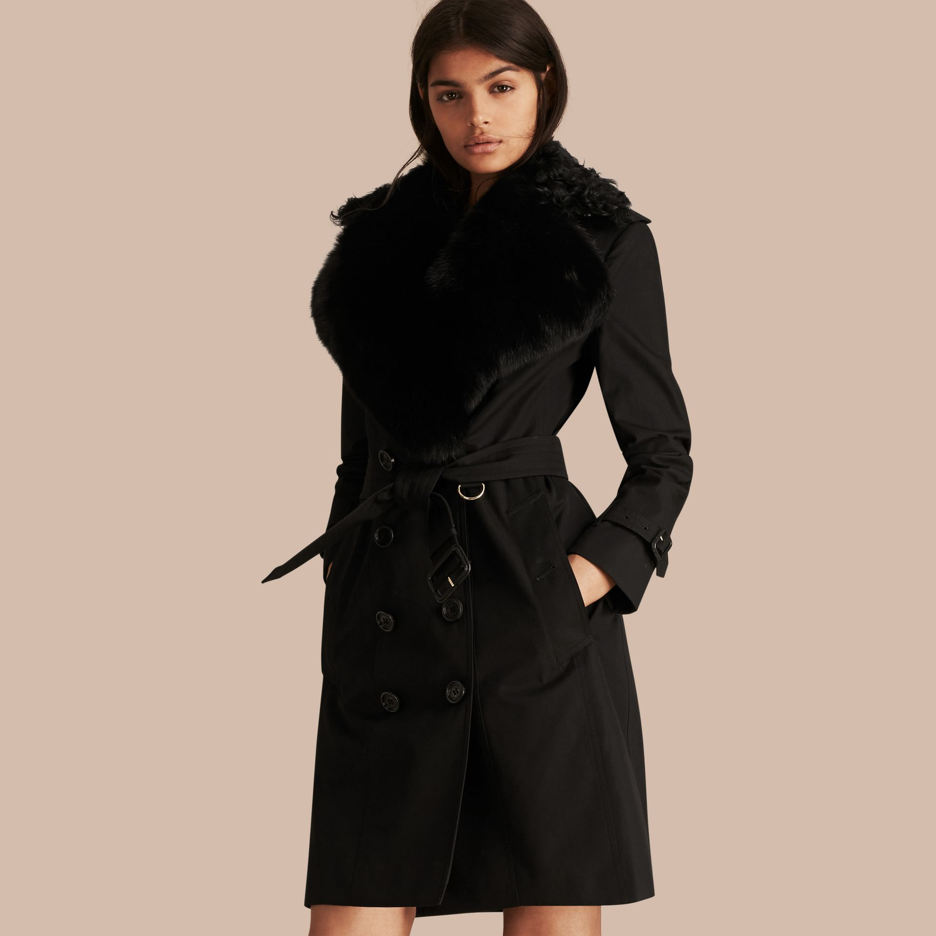 Black Cotton Gabardine Trench Coat with Detachable Fur Trim - gallery image 1