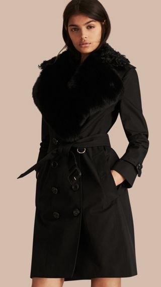 Cotton Gabardine Trench Coat with Detachable Fur Trim