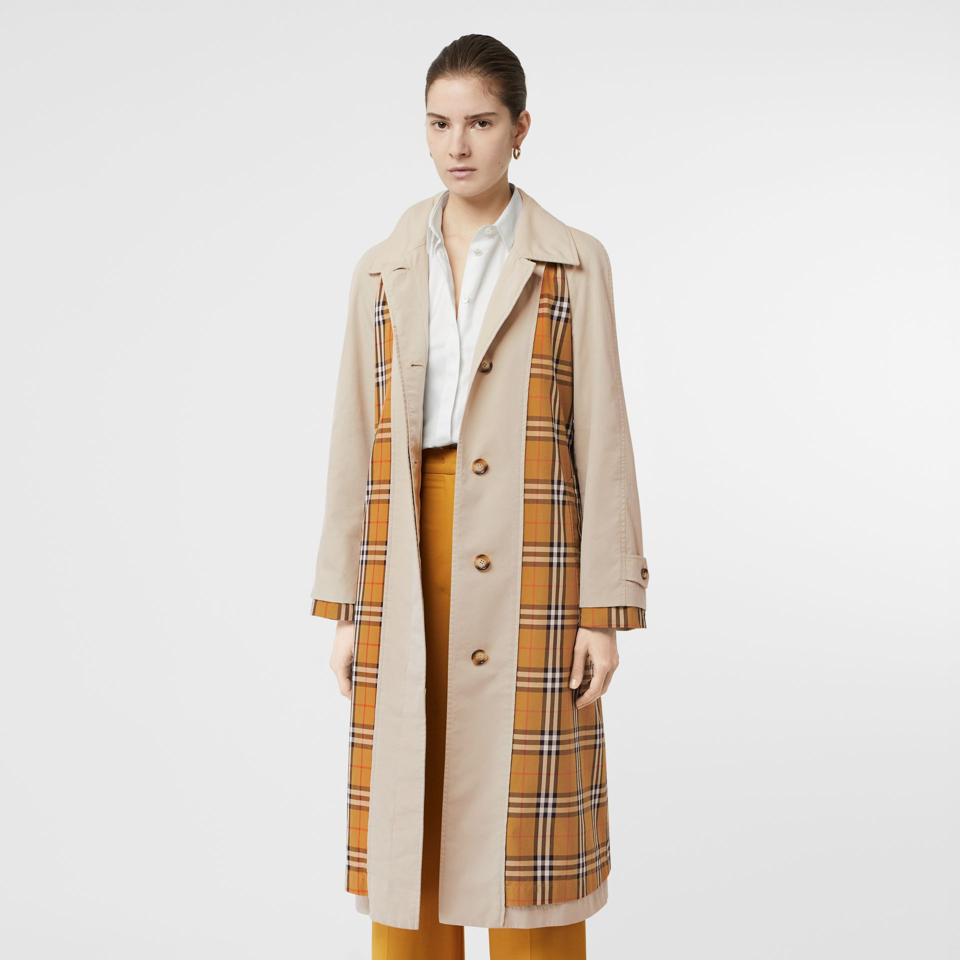 Vintage Check and Tropical Gabardine Car Coat in Stone - Women | Burberry United States - gallery image 7