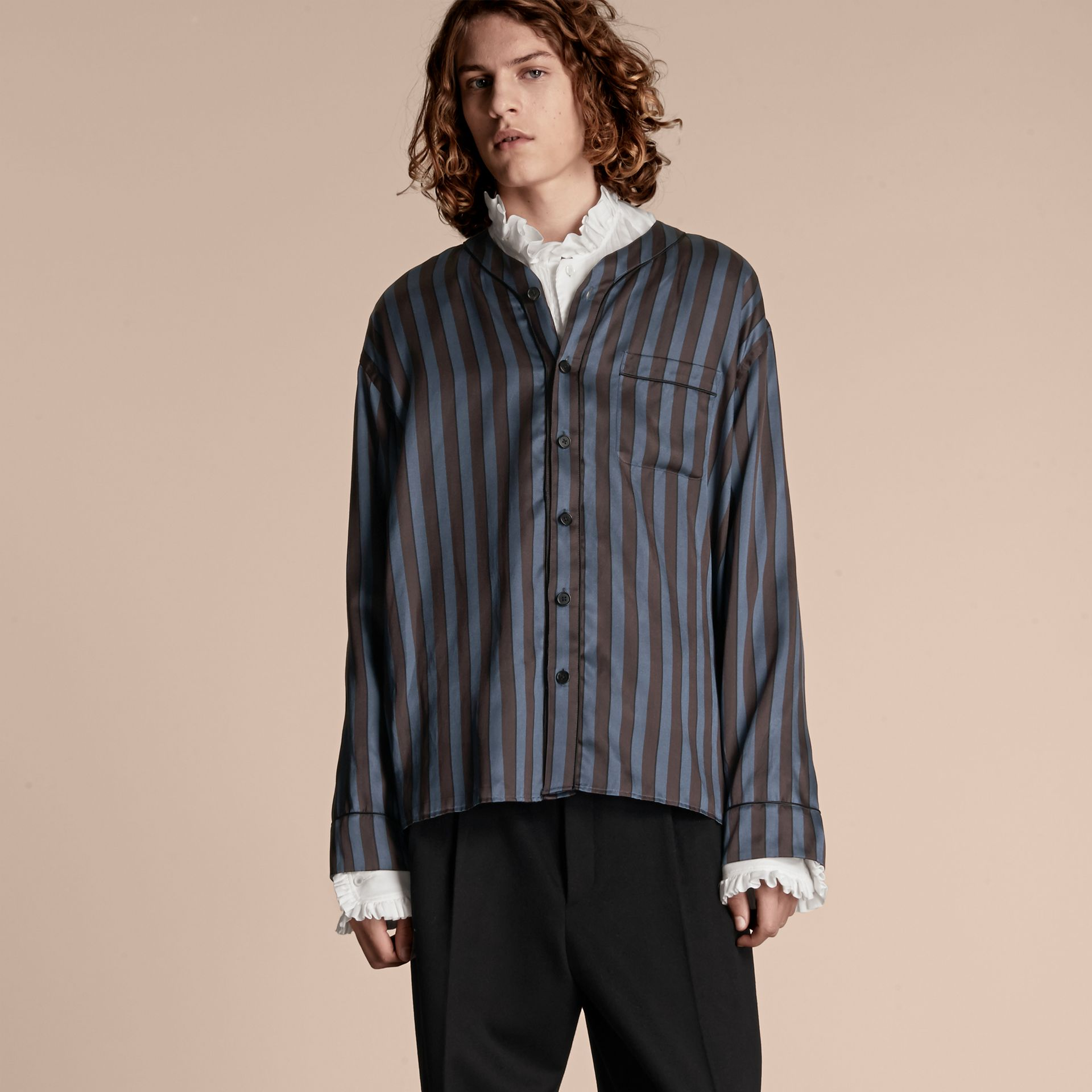 Navy Pyjama Stripe Silk Cotton Collarless Shirt - gallery image 1