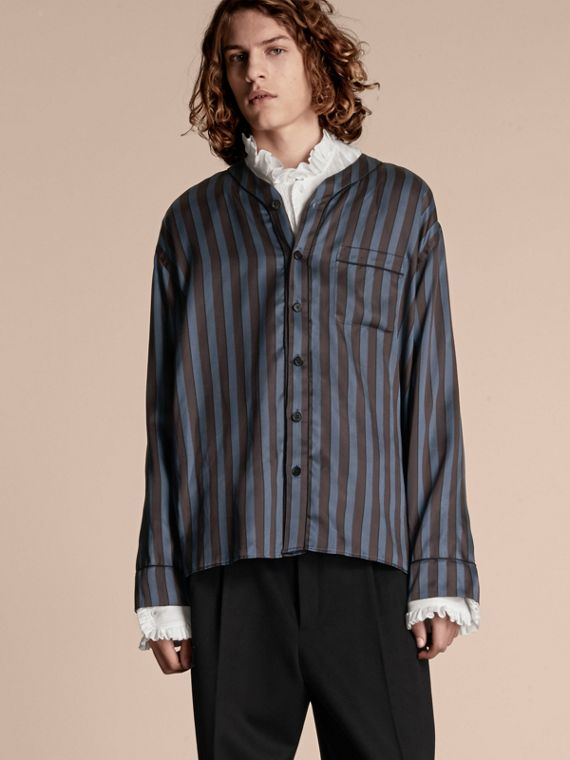 Pyjama Stripe Silk Cotton Collarless Shirt