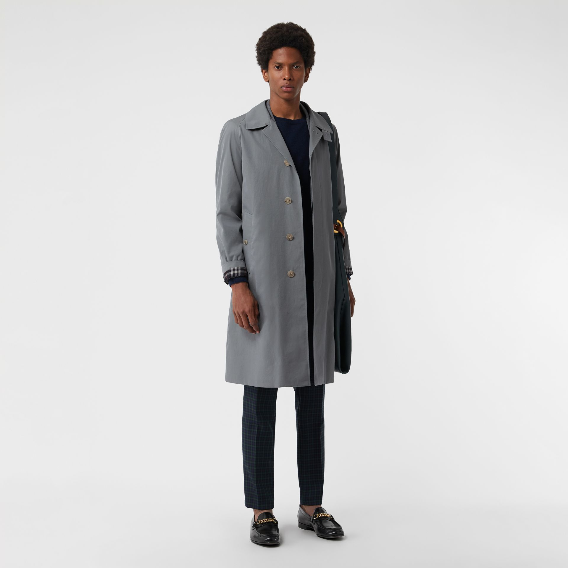 Tropical Gabardine Car Coat in Dusty Blue - Men | Burberry - gallery image 0
