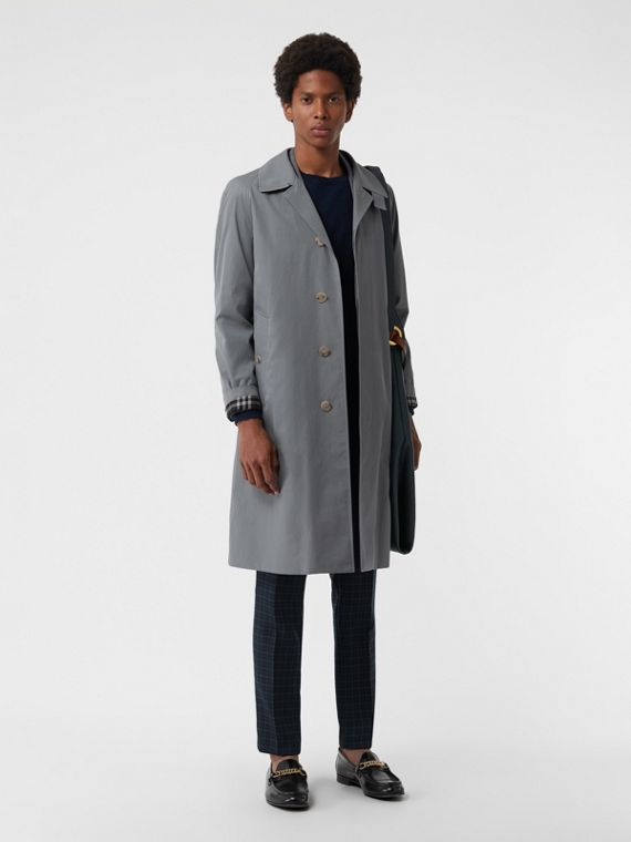 Archive Logo-lined Tropical Gabardine Car Coat in Dusty Blue