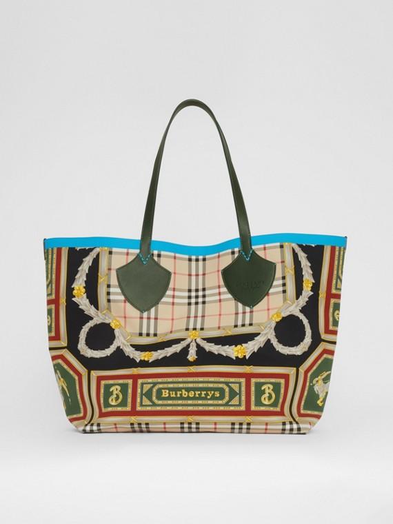 Bolsa tote Giant dupla face de algodão com estampa de lenços (Verde Floresta Escuro/borgonha)