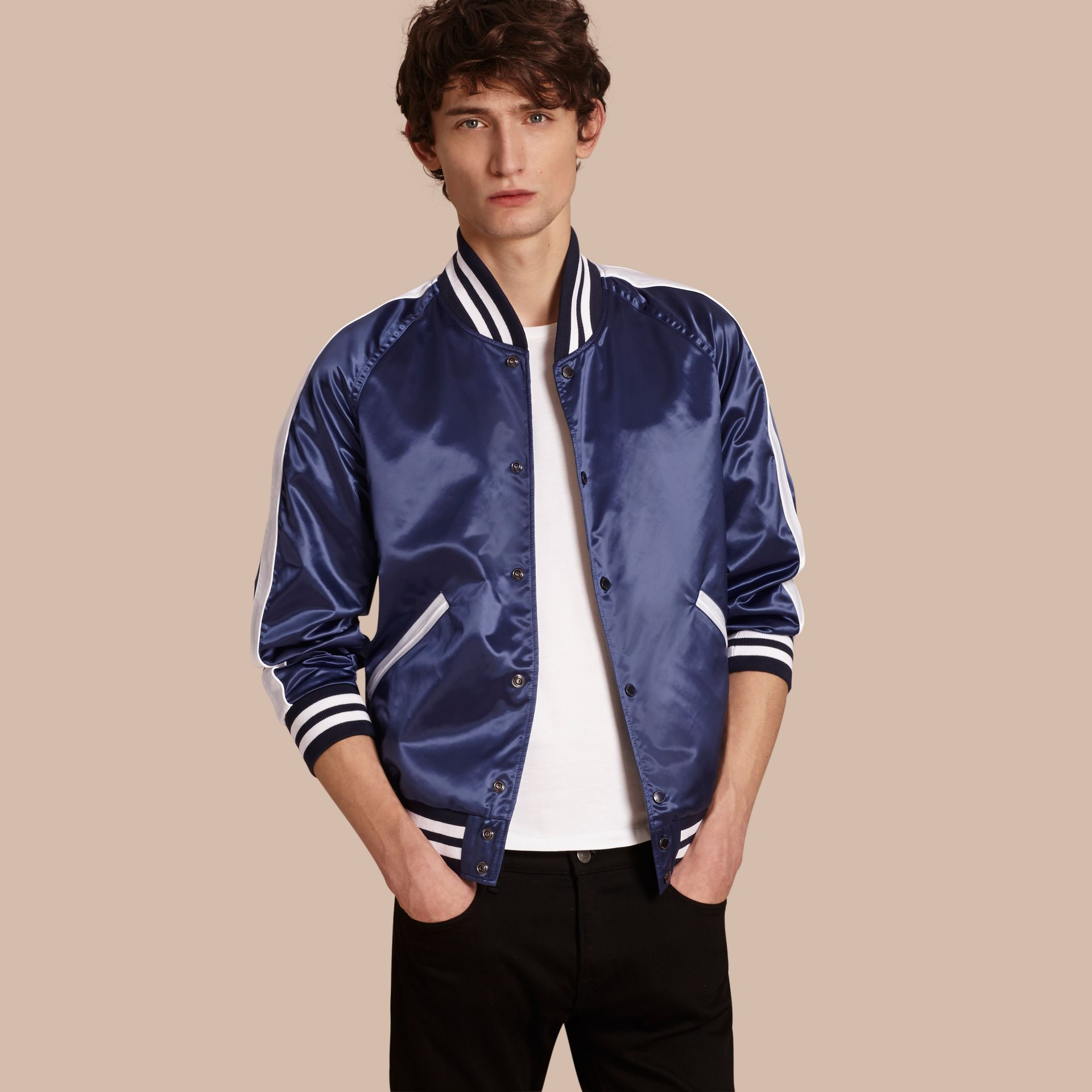 Bright navy Varsity Bomber Jacket - gallery image 1