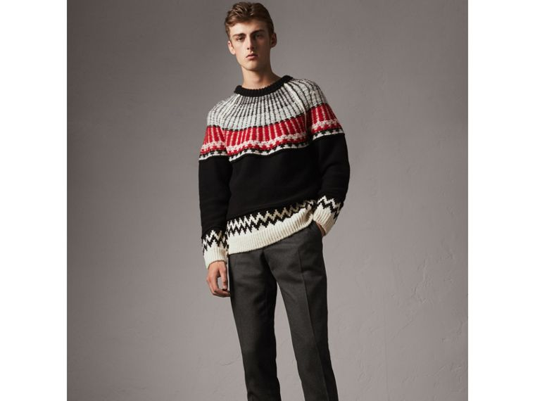 Wool Tailored Trousers in Dark Grey Melange - Men | Burberry - cell image 4