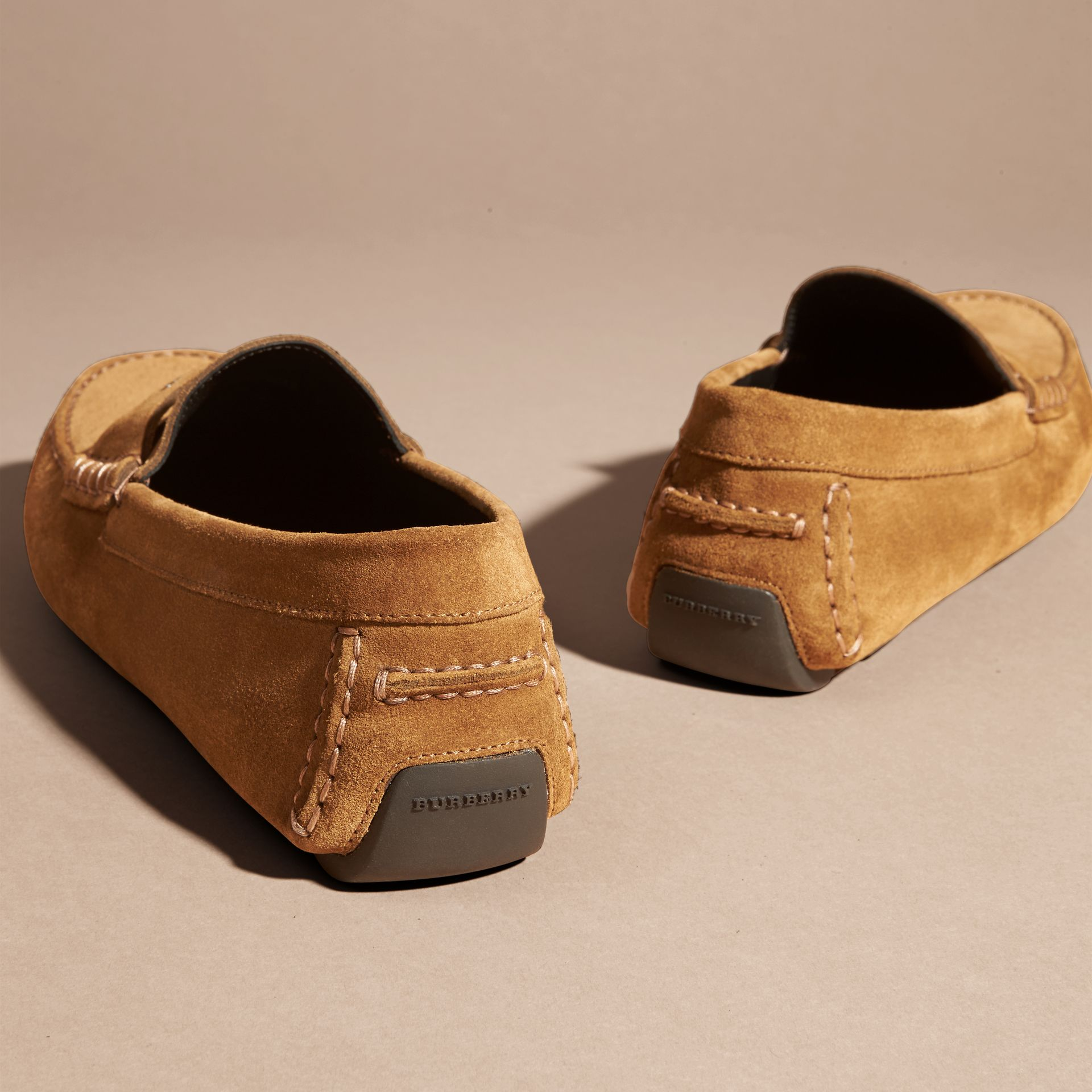 Caramel Suede Loafers with Engraved Check Detail Caramel - gallery image 4