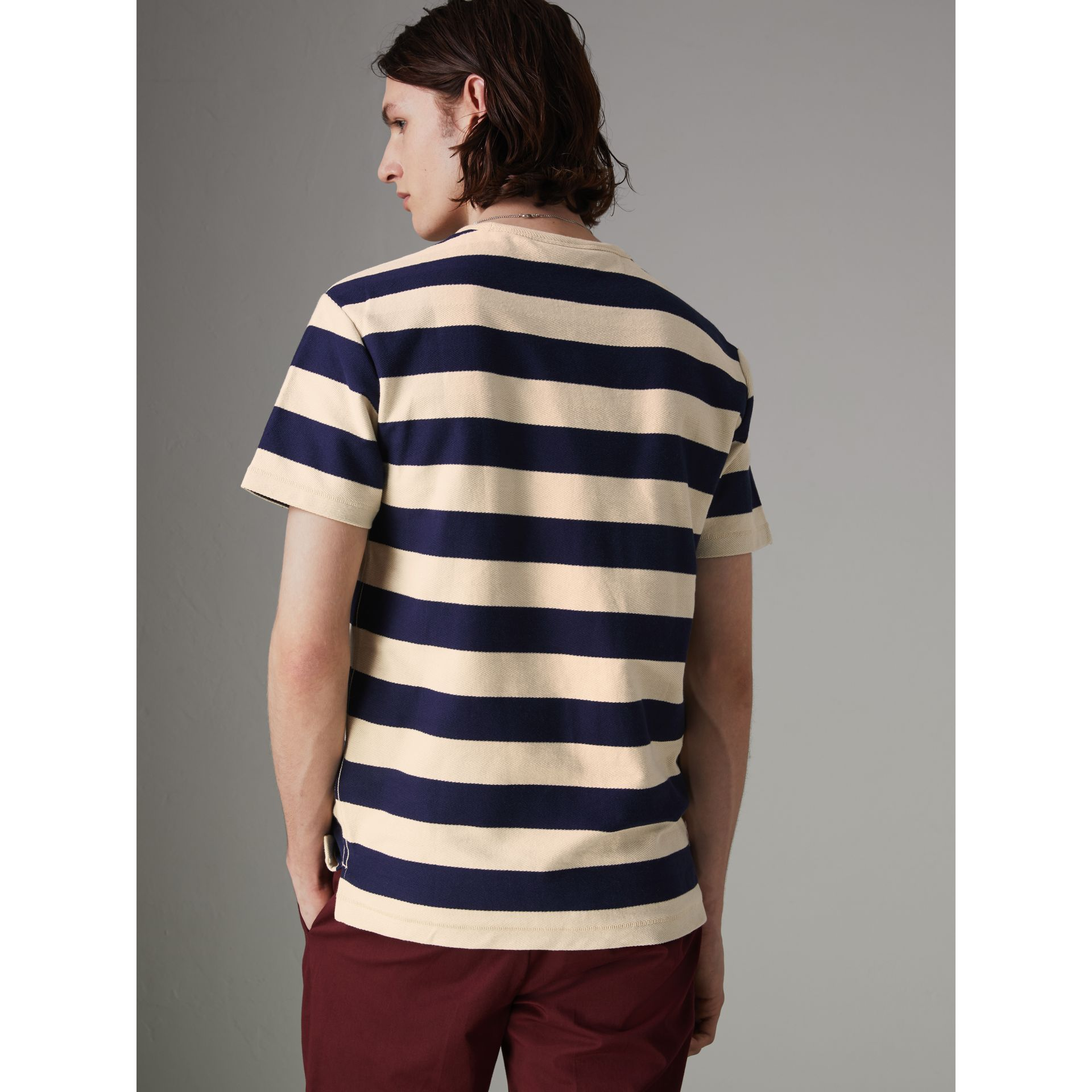Bust Print Striped Cotton T-shirt in Off White/navy - Men | Burberry United Kingdom - gallery image 2
