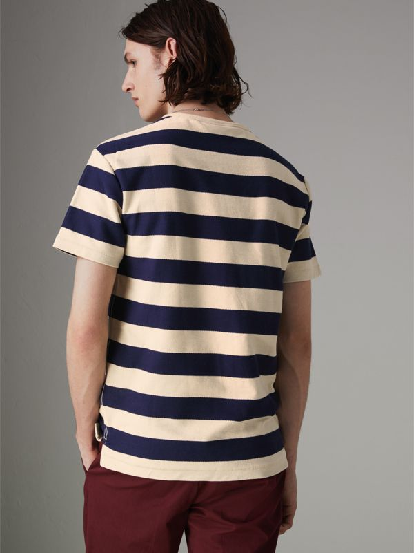 Bust Print Striped Cotton T-shirt in Off White/navy - Men | Burberry United Kingdom - cell image 2