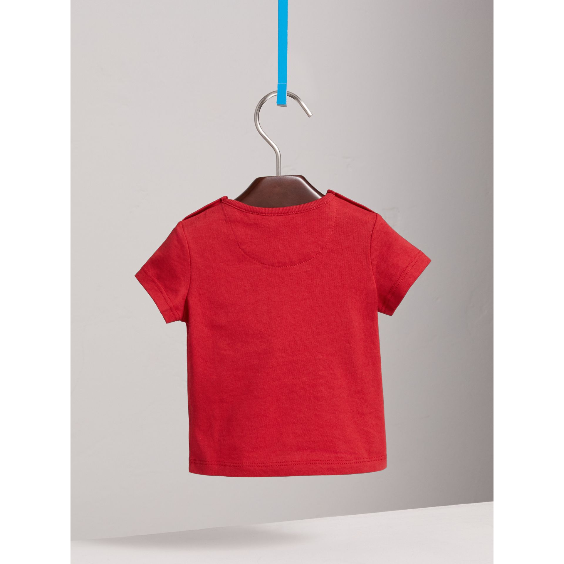 Check Pocket Cotton T-shirt in Military Red | Burberry United Kingdom - gallery image 3