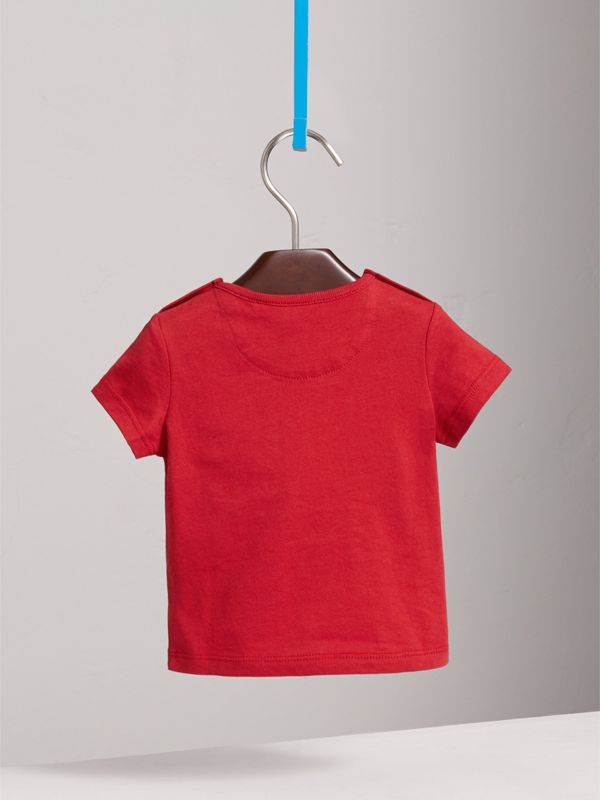 Check Pocket Cotton T-shirt in Military Red | Burberry - cell image 3