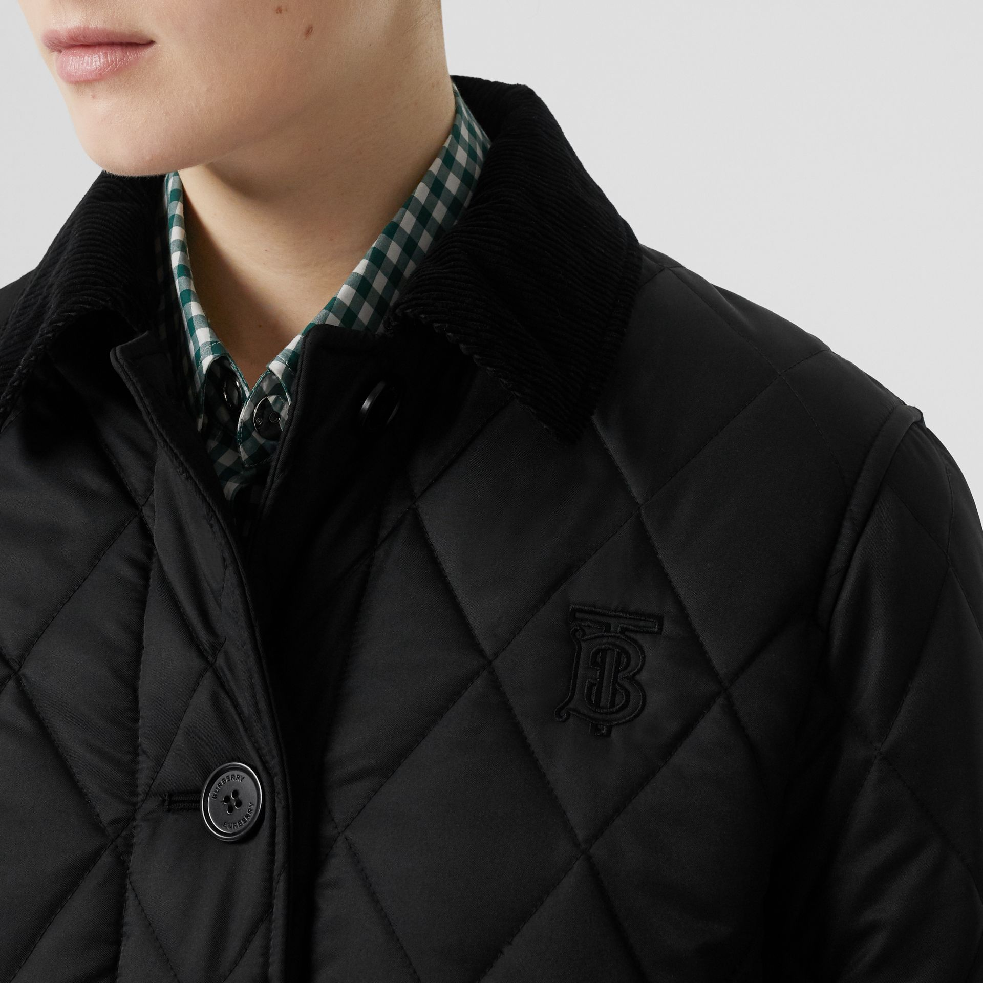 Detachable Hood Monogram Motif Quilted Coat in Black - Women | Burberry - gallery image 1