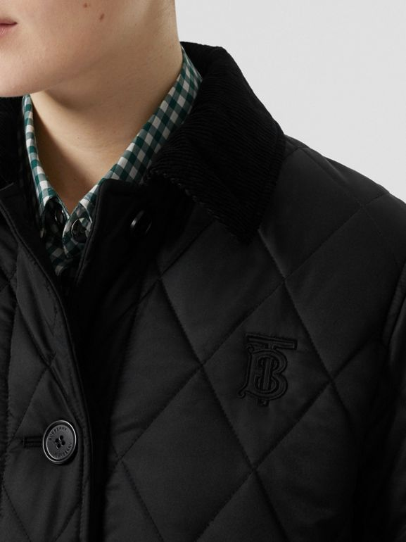 Detachable Hood Monogram Motif Quilted Coat in Black - Women | Burberry United Kingdom - cell image 1