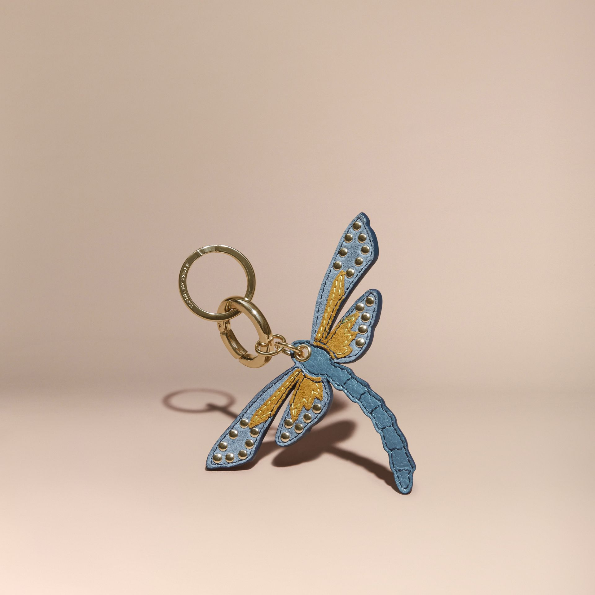 Ochre yellow Dragonfly Key Charm in Leather and Suede - gallery image 1